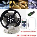Waterproof IP 65 SMD 5630 LED Strip Light White / Warm White 5M 60LEDs/m 5m/Roll + DC Female Connector +11Keys Remote Control