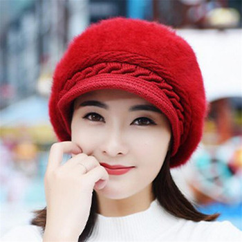 Fox fur ball cap winter hat women beanies cap 4