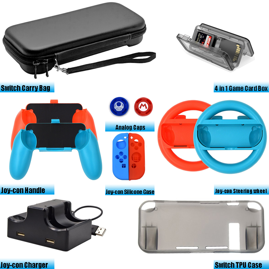 Accessories Kit for Nintend Switch Games Steering Wheel Grip Caps Carrying Bag Controller Charger TPU Protective Case (12 In 1) 11 in 1 accessories nintend switch ns carrying storage bag joystick handle grips charger silicone case caps for nintendo switch