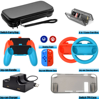 Accessories Kit for Nintend Switch Games Steering Wheel Grip Caps Carrying Bag Controller Charger TPU Protective Case (12 In 1)