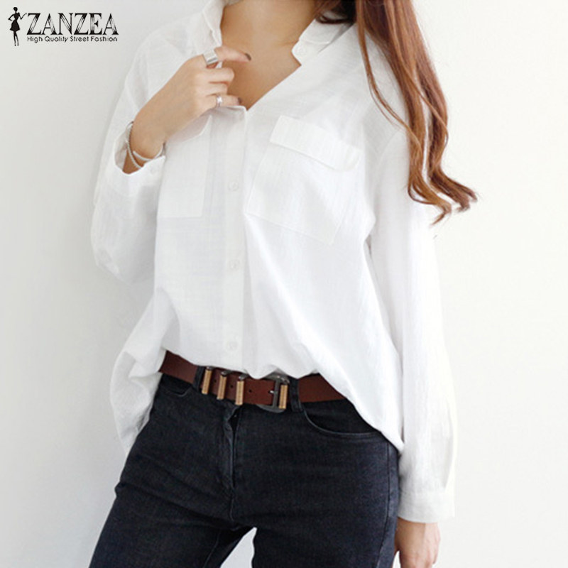 4c5060c35a72 2018 ZANZEA Summer Work Office Baggy Ladies Solid Long Sleeve Cotton Linen Blouse  Women Casual Lapel Button Loose Shirts Tops-in Blouses   Shirts from ...