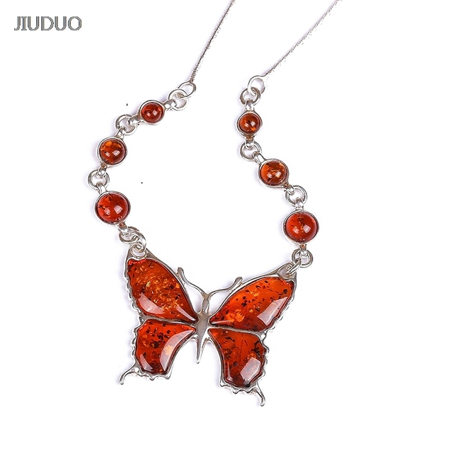 JIUDUO Natural Amber Beeswax Pendant Three - dimensional Cabbage Yellow Bee Necklace 925 Sterling Silver Necklace Female