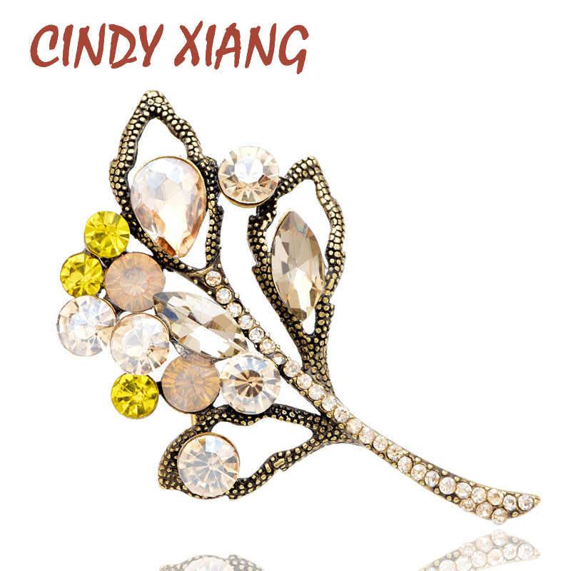 Cindy Xiang Kristal Besar Daun Bros untuk Wanita Vintage Cabang Fashion Pin Pernikahan Bros Perhiasan Wanita Perempuan Aksesoris