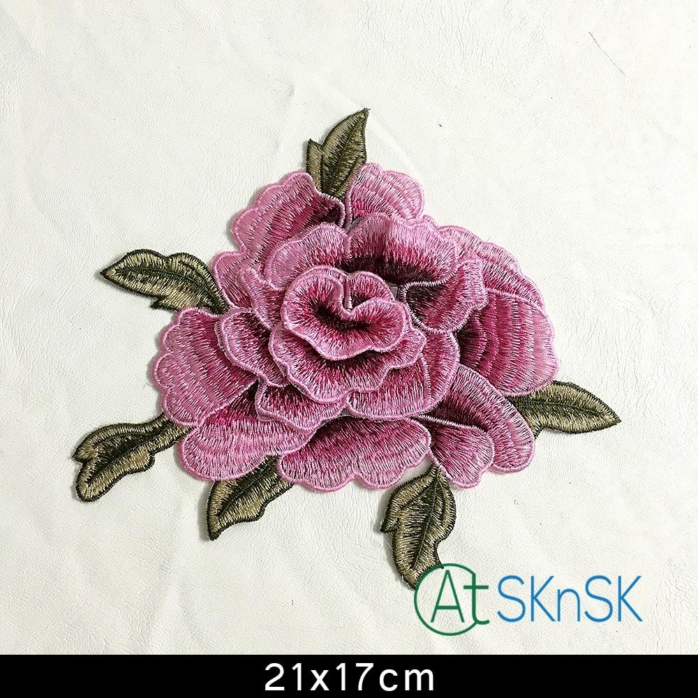 21 * 17 cm 3D růže růžová pivoňka květ náplast Vyšívaný oděv Appliques šít Na náplasti Oblečení cheongsam svatební šaty Příslušenství A1