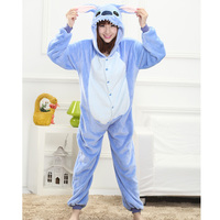 Flannel Cartoon Animal Onesie Pyjama Stitch Pikachu Unicorn Pajama For Adult Children Family Matching Outfits Home