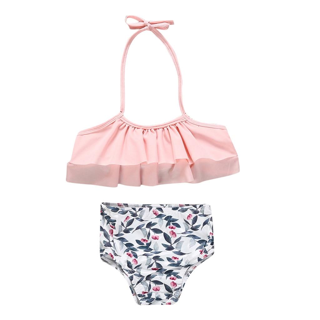 Kids Baby Girls Leaf Print Vest Summer Swimwear Swimsuit Bikini Outfits Kids Baby Girl Clothes Set
