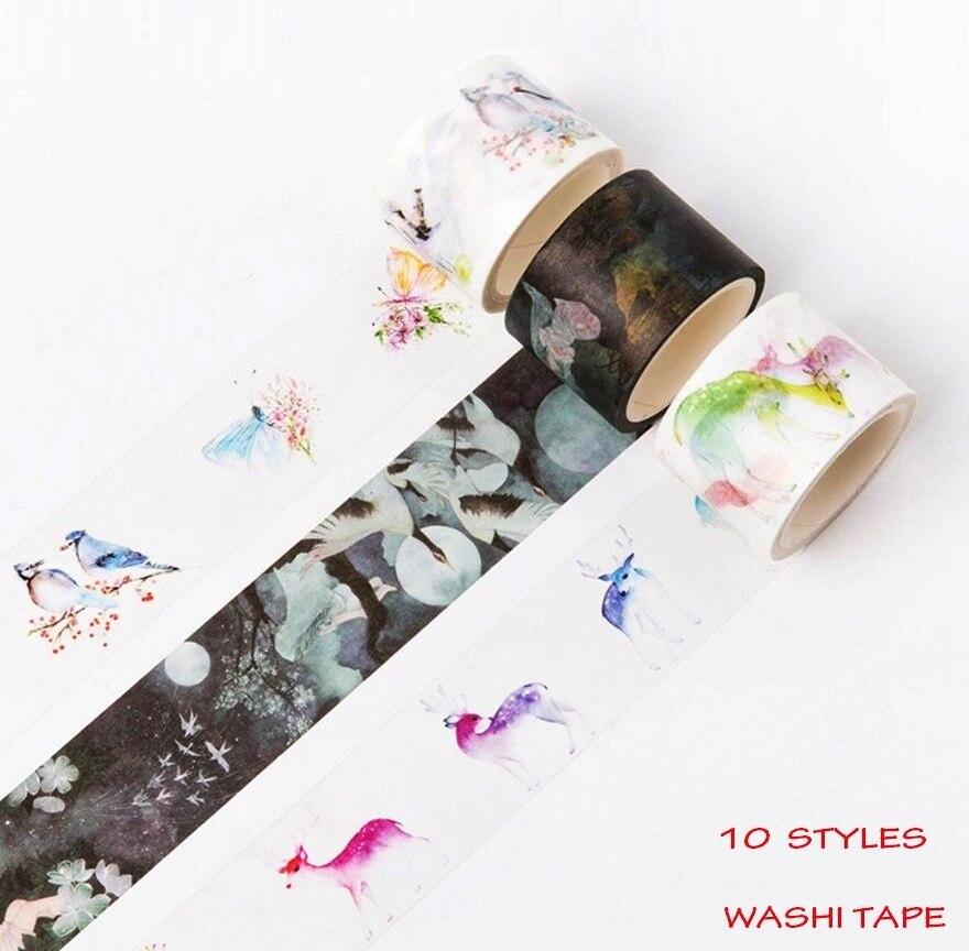 10 Design Washi Tape Pavilion/Fan/Girls/Deer/Birds Chinese Style Decorative Adhesive Tape Masking Paper Tape Scrapbook Stickers