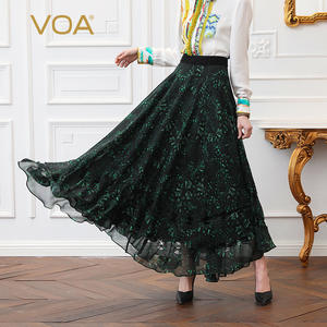 VOA Skirts Long Boho Plus-Size Women Mid-Waist Girl Casual 5XL Mori Print Silk Dark-Green