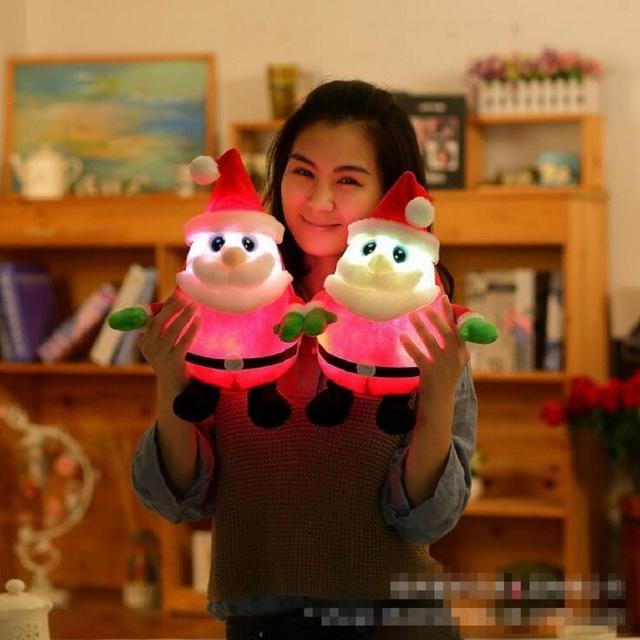 Hot 30 cm Luminosa Música de Santa Claus Muñeca de la Felpa Juguetes Kawaii Santa de Peluche Juguetes con Luz Led Brillan en la noche de Los Niños juguetes