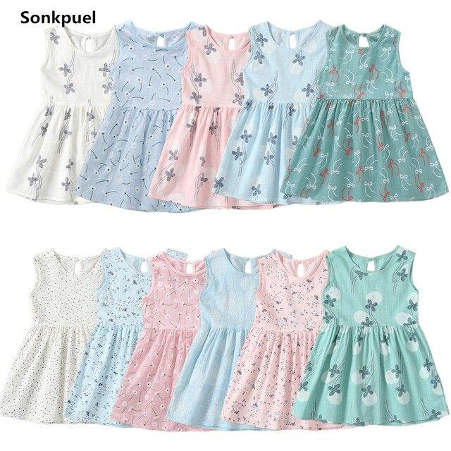 2019 Crianças Menina Vestido Sem Mangas Prined 1-7 Anos Meninas de Verão Flor Vestidos Crianças Roupa Do Bebê Do Algodão Vestido de Princesa outfits