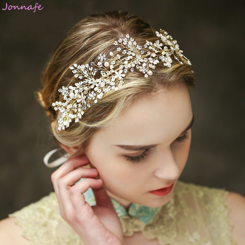 Jonnafe Tiny Beaded Bridal Tiara Headband Gold Flower Hair Vine Wedding Accessories Women Hair Piece Jewelry