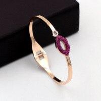 Hot Sale Completa Rhinestone CZ Roxo Lábios Cor de Rosa de Ouro Pulseira de Aço Inoxidável