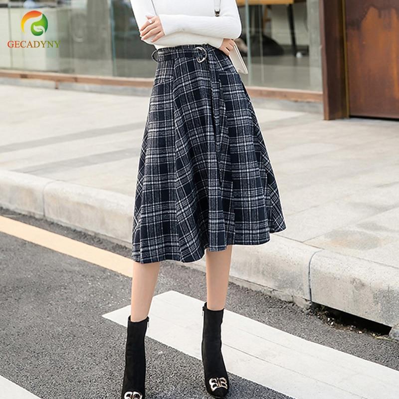 5906e89ab2 Belt Plaid Skirt Women A-Line Skirt Preppy Style Woolen Plaid Skirts Autumn  Winter Vintage Wool Tartan Umbrella Plaid Skirts