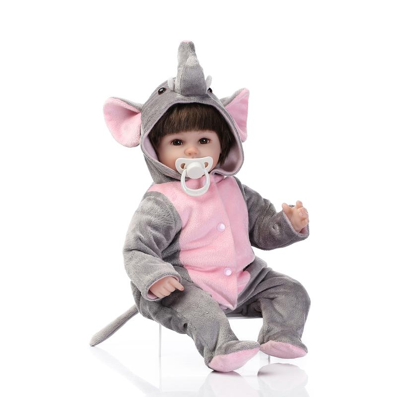 Nicery 16-18inch 40-45cm Bebe Doll Reborn Soft Silicone Boy Girl Toy Reborn Baby Doll Gift for Children Gray Elephant nicery 18inch 45cm reborn baby doll magnetic mouth soft silicone lifelike girl toy gift for children christmas pink hat close