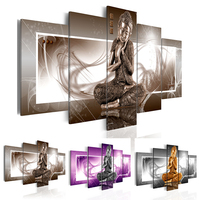 5 Piece Buddha Canvas Painting Home Decor Wall Art Picture For Living Room Choose Color Brown