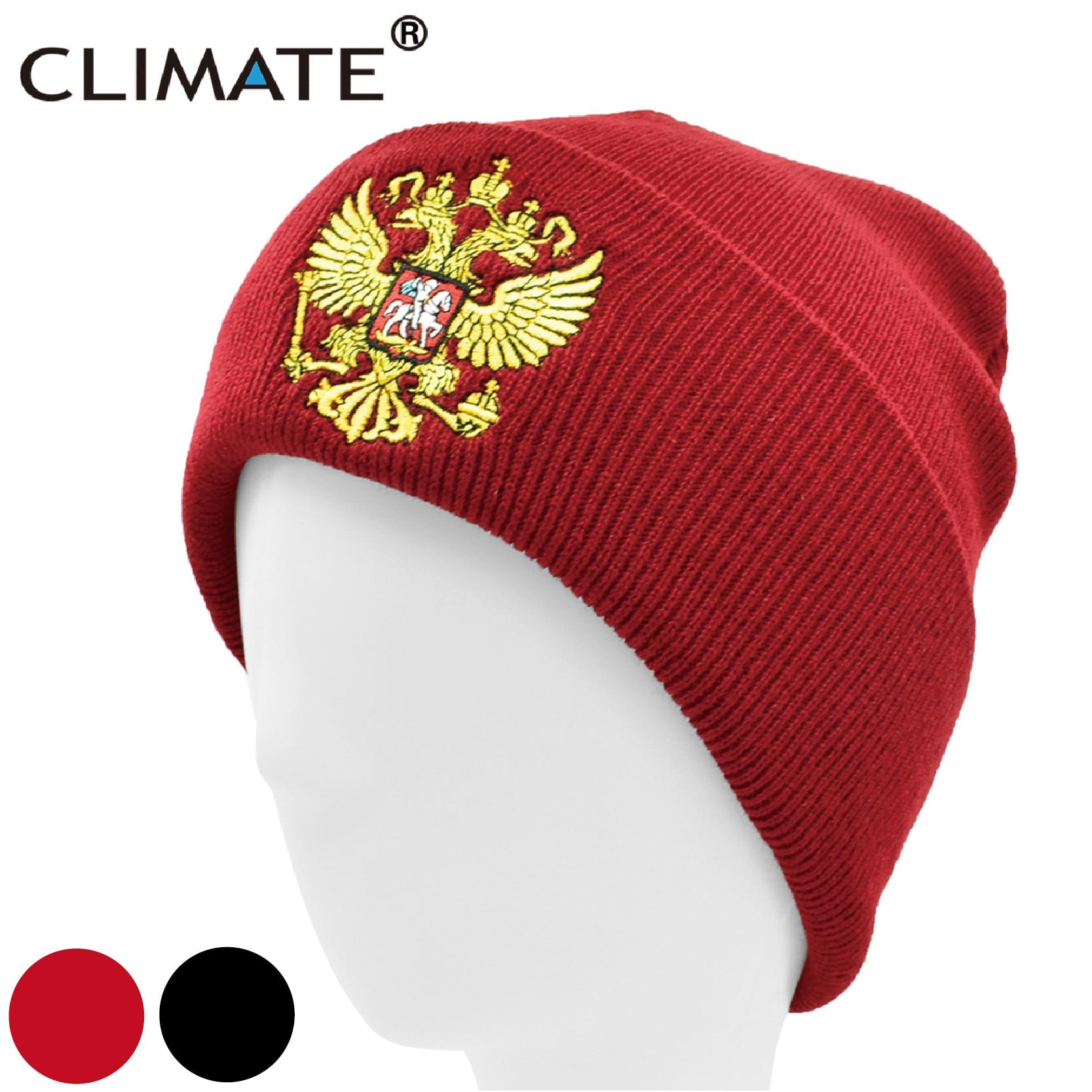 CLIMATE Men Russia Beanie Hat Russian Emblem Winter Beanie National Day Skullies Men Women Warm Knitted Hats Cap For Men Women