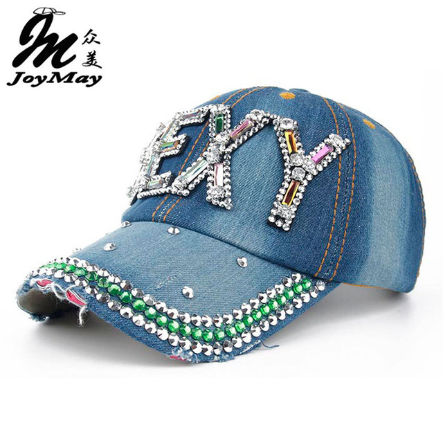 Joymay 2016 New Colorful Bling Sexy Diamante Jean Denim Baseball Cap Men Adjustable Snapback Caps Women Casual Outdoor B267