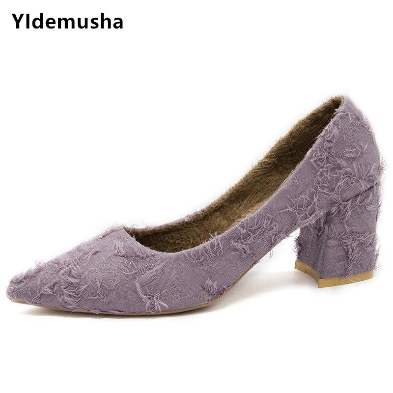 Yidemusha Shoes Women Pumps Wedding-Sapato Heels Office Pointed-Toe High-Square Feminino