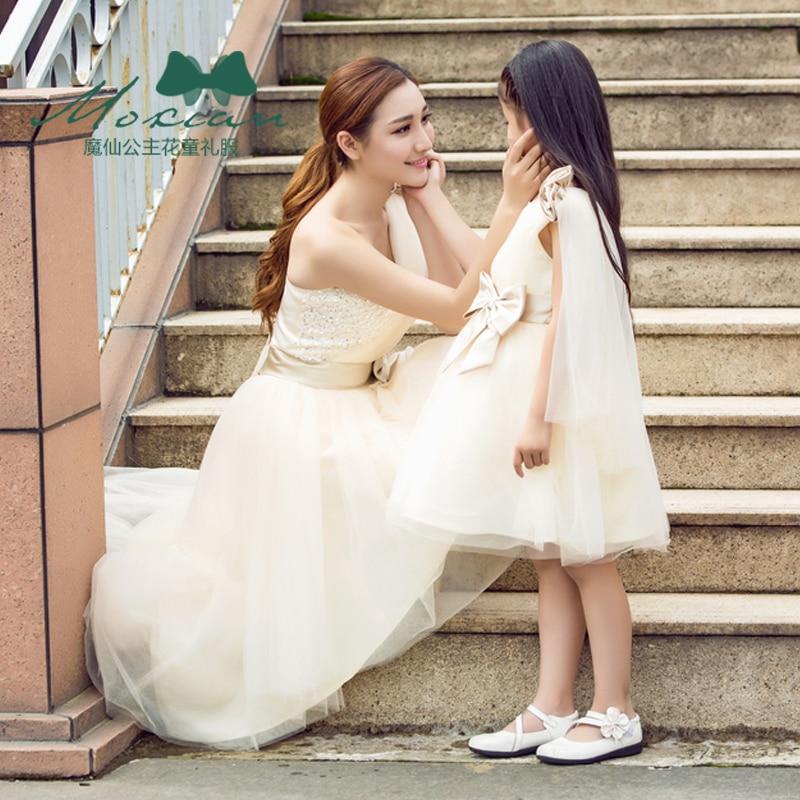 Été maman fille robes automne famille correspondant princesse robe de mariée famille correspondant vêtements tenues sans manches famille Look - 5