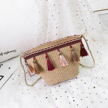 все цены на Tassel Square Straw Bag Handbags Women Summer Rattan Beach Bag Handmade Woven Beach Bohemia Handbag New Fashion Shoulder Bags