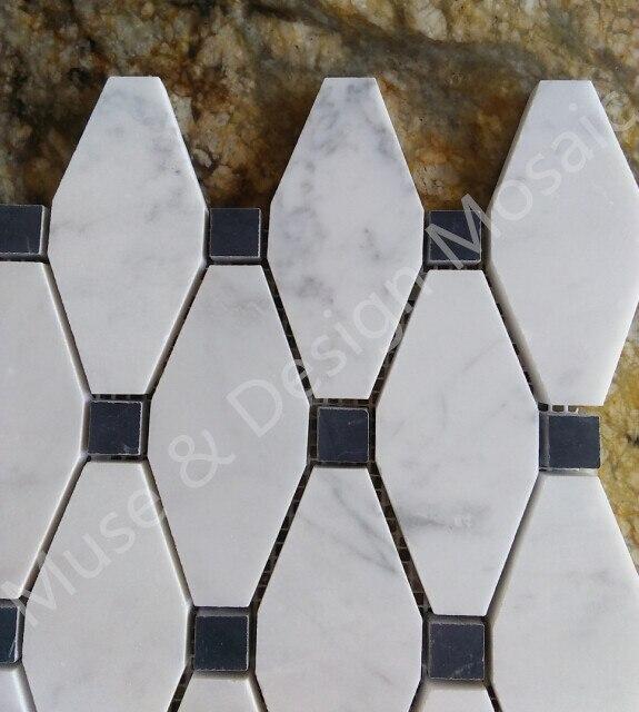 octagon carrara white marble mosaic