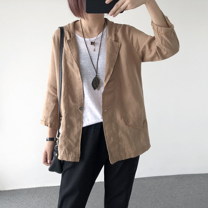 Summer Women Loose Thin Linen Small Suit Tunic Female Solid Color Cotton Blazer Ladies 7-point Sleeves Work Office Casual Jacket