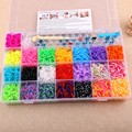 About 4500pcs 28 Lattice Mix DIY Cheap Elastic S clip Bands Fun Rubber Loom Band Kit Bracelets Colorful Loom Bands Kid Toy Gift
