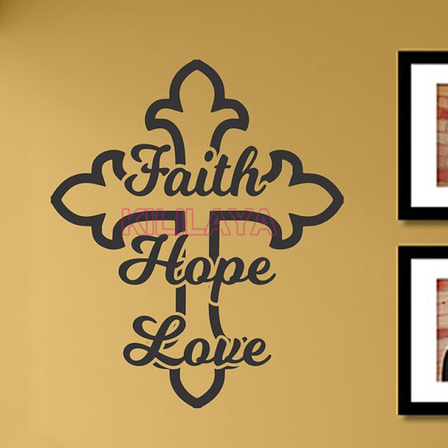 Christian Faith Hope Love Cross Vinyl Wall Sticker Decal Art ...