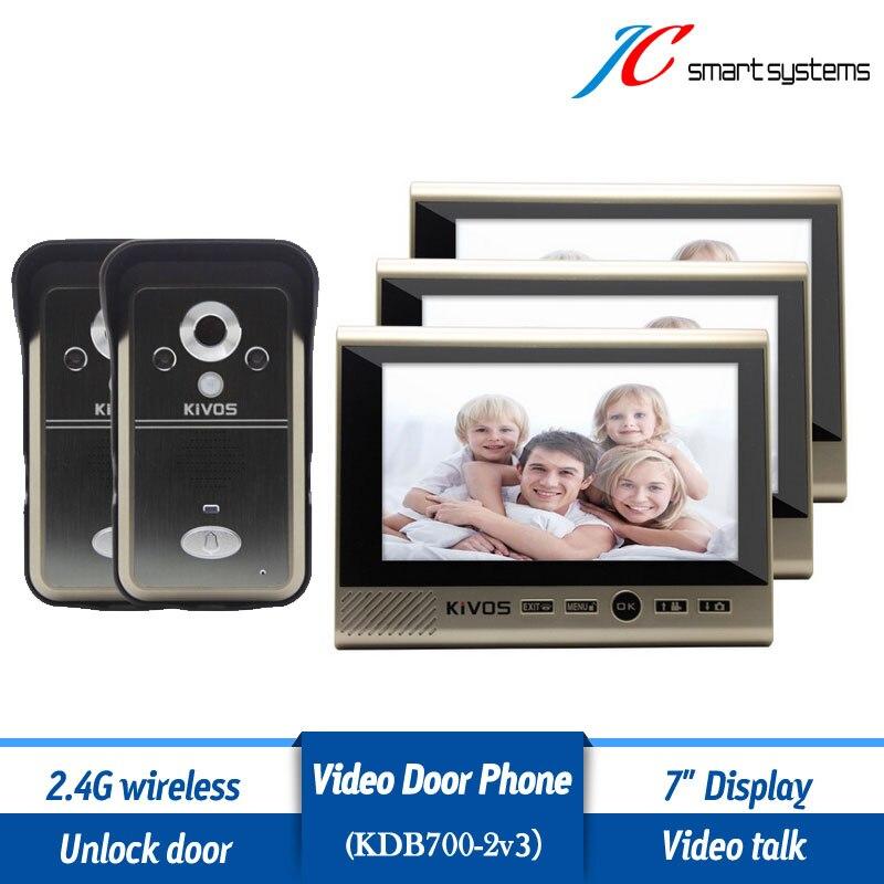 Kivos KDB700 2v3 wireless intercom doorphone deurbel met camera with night vision & HD camera