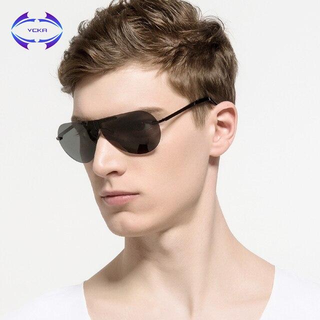 8361a0f00 Homens Óculos de Marca Famosa Designer Aviação VCKA Polarizada óculos Sol  Dobra HD Condução Moda Sem Aro Do Vintage Das Mulheres