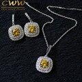De lujo collar colgante y pendientes de oro blanco plateado micro pave configuración moda yellow cubic zirconia jewelry set (t022)
