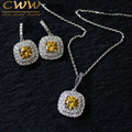 Luxury Necklace Pendant And Earrings White Gold Plated Micro Pave Setting Fashion Yellow Cubic Zirconia jewelry Set (T022)