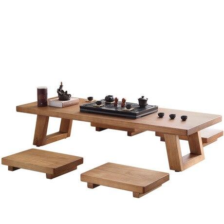 Diskret Esszimmer Set Esszimmer Möbel Massivholz 1 Tisch + 4 Hocker Japanischen Stil Esstisch Set Tee Tabelle 100/120*50*35 Cm Verkauf Bequemes GefüHl