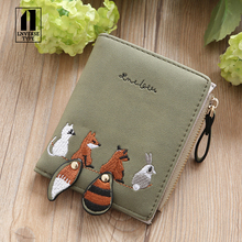 Women's Wallet Lovely Cartoon Animals Short Leather Female Small Coin Purse Hasp Zipper Purse Card Holder For Girls Folding wall