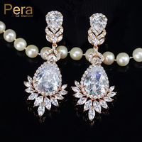 Pera Classic Big Dangle Bridal Jewelry Rose Gold Color Long Chandelier Cubic Zirconia Drop Earrings For