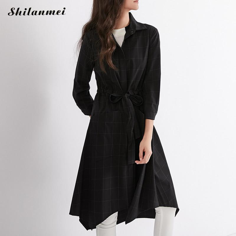 Nylon Plaid Women   Trench   Coat Autumn Winter Irregular Mid-Long Lapel Collar 2018 Fashion New Female Thick   Trench   With Belt S-Xl