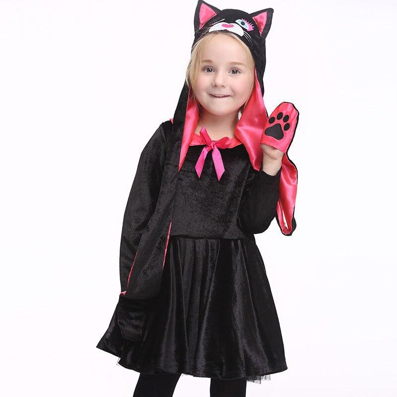Halloween Playful Girl Costume Kids Cat (Hat+Dress) Cute Gold Velvet Costumes Cartoon Dress Carnival Party Cosplay High Quality