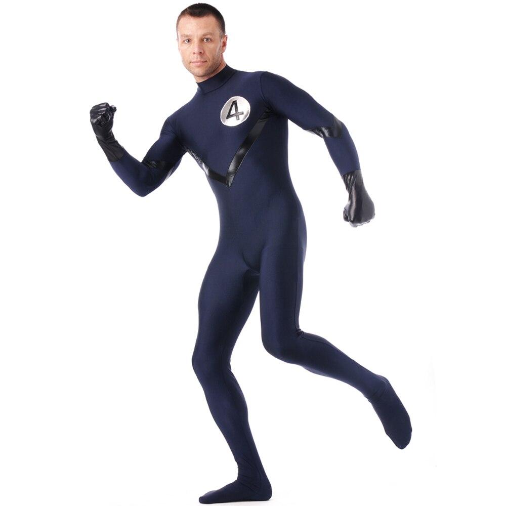 Fantastic 4 SuperHero Costume Human Torch Cosplay Zentai Dark Blue High Elasticity Spandex Adult Men's Halloween Party Costume