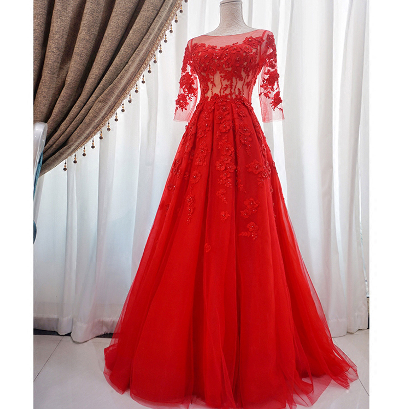 Evening Dresses 2018 Plus Size Embroidery Long Formal Dresses Boat Neck Red Lace Up Illusion Three Quarter Sleeve Robe De Soiree