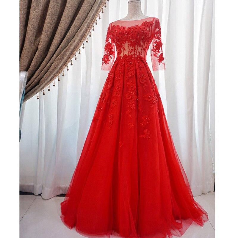 Soirée robes De grande taille Broderie Longue Formelle Robes Col Bateau Rouge à lacets Illusion Trois Quarts Manches Robe De Soirée