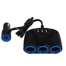 Multi Function 3 Way Three USB 12V Car Cigarette Socket Splitter Power Adapter(China)