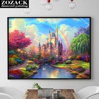 Zozack Diy Full Diamond Diamond Embroidery Rainbow Castle Landscape 5D Diamond Painting Cross Stitch Diamond Mosaic