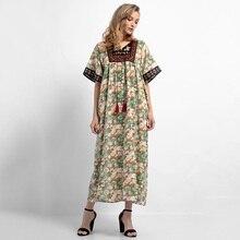 3cfc5b121c9 Fashion Embroidery Patchwork Women Maxi Dress Floral Print Tassels Short Sleeve  Muslim Abaya Arab Robe Loose