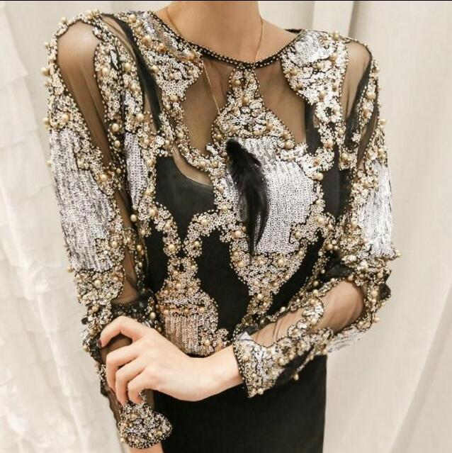 Brand famous 2018 women crystal Blouses sexy lace beads autumn winter top and shirts blusa femme