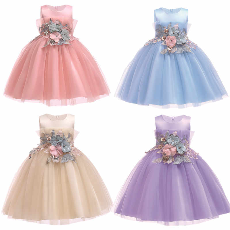 abe2504740e74 2018 Girls Dress Kids Clothes Girls Party Dress Elegant Fashion Floral  Children Princess Wedding Gowns Clothes for Girl 2-10yrs