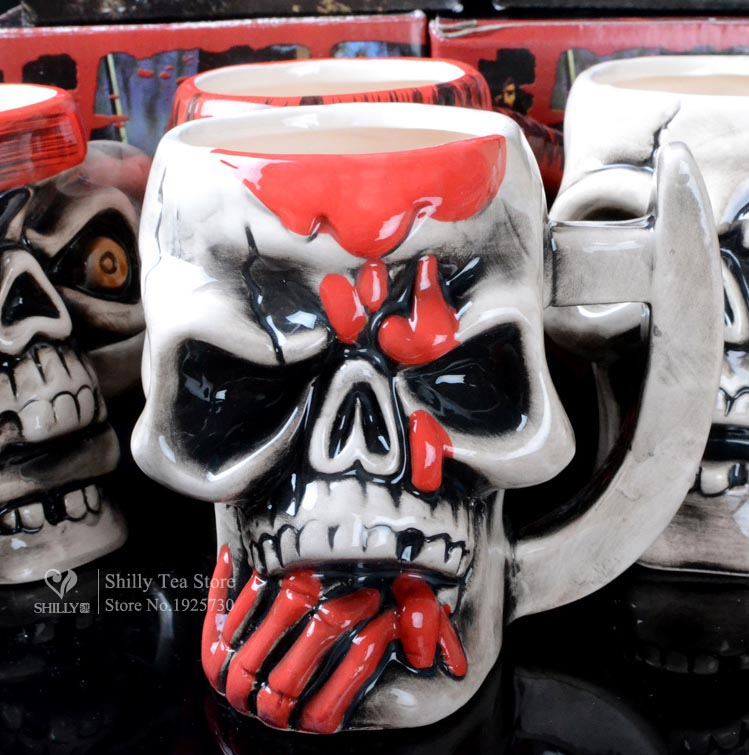 300ml Pirate skull shape Ceramic Coffee mug Creati...