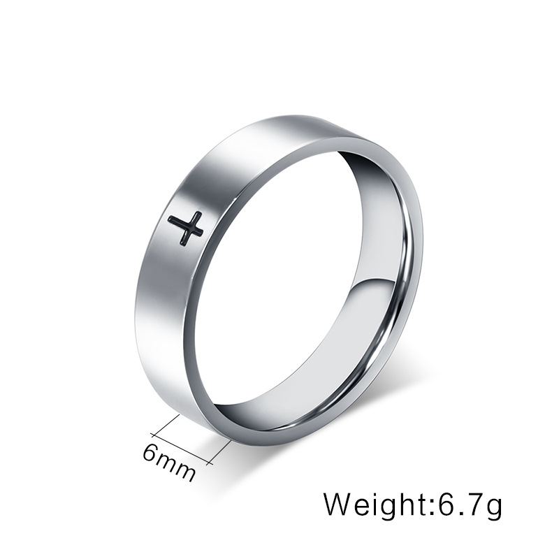 Fashion Punk Titanium Steel Jesus Cross Wedding Band Finger Ring for Men Women High Quality Gothic Jewelry Engagement Gift