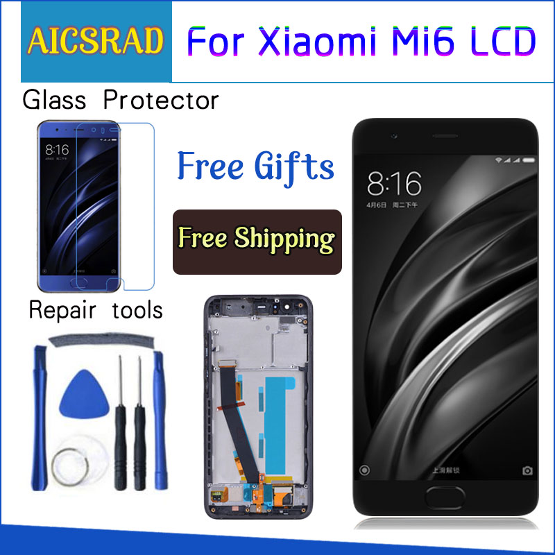 "For Xiaomi Mi 6 Mi6 LCD Display With Touch Screen With Frame Digitizer Assembly NEW For 5.15"" Xiaomi Mi6 LCD Replacement Parts"