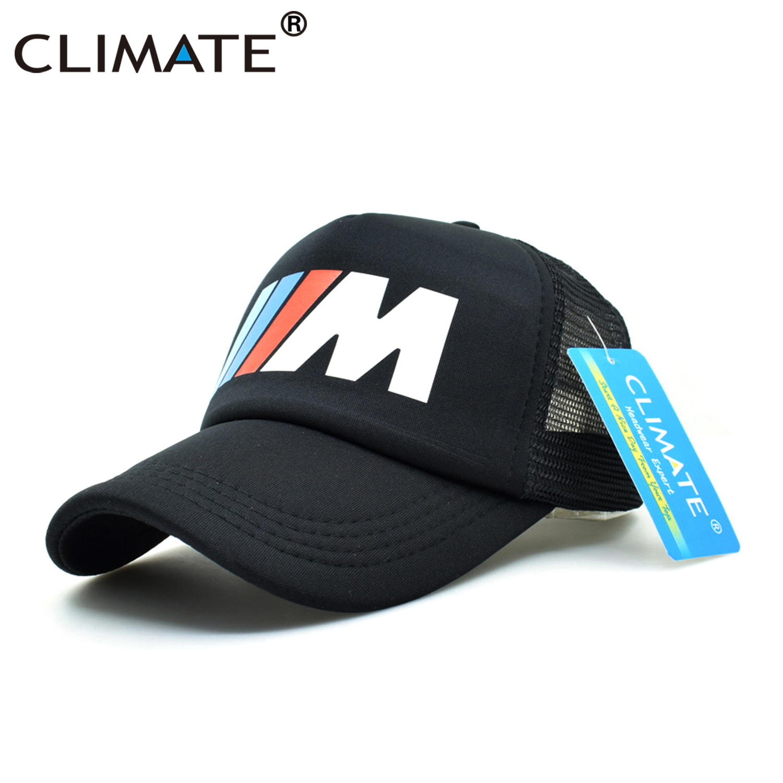 CLIMATE Men Trucker Cap Men Car Hat Baseball Cap M3 M5 Logo Fans Hat Black  Mesh Net Trucker Caps Summer Cool Hat for Men Car Fan-in Baseball Caps from  ... 2f1cc21b6afd