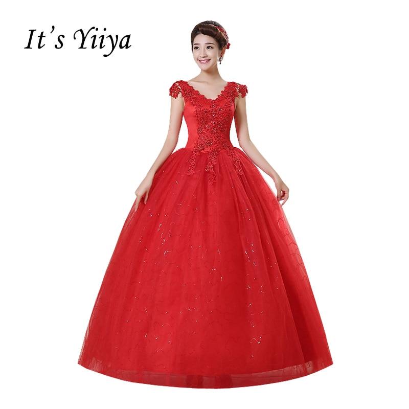 2017 New Arrival Free Shipping Red Wedding Dresses Princess Vestidos De Novia Wedding Ball Gowns Sleeveless Wedding Frocks HS159
